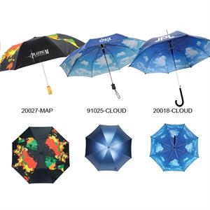 "Automatic Open Umbrella With Wood Handle And World Map Imprint On Outside; 43"" Arc"