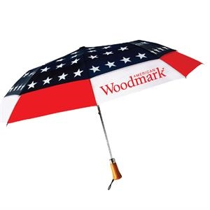 "Stars Design Auto Open Umbrella With Nylon Fabric And Genuine Wood Handle; 44"" Arc"