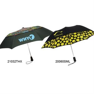 "Smiles Umbrella With Auto Open And Black Sleeve With ""smiles"" Pattern; 43"" Arc"