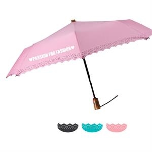 "Eyelet Fashion Umbrella With Automatic Open And Close & Sleeve With Cutouts; 43"" Arc"