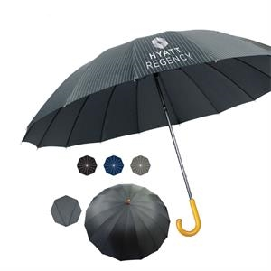 "Doorman Fashion Umbrella With Manual Open And Genuine Wood Handle, 60"" Arc"