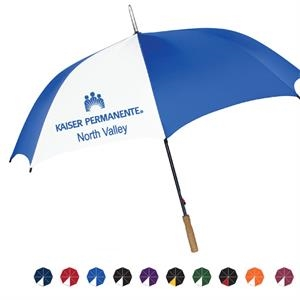 "Pk Golf Umbrella With Auto Open, Steel Shaft And Genuine Wood Handle; 60"" Arc"