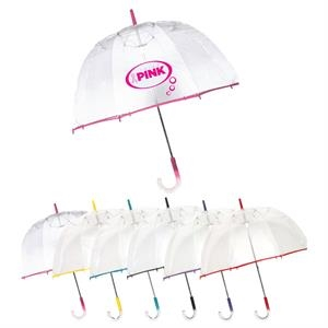 "Colored Bubble Manual Open Umbrella With Clear Poe Fabric; 48"" Arc"