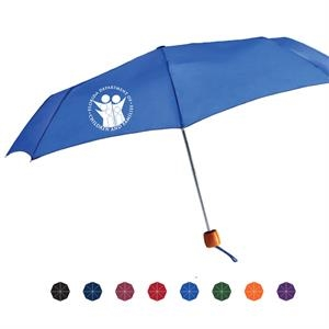 "Mini Windy Manual Open Folding Umbrella With Genuine Wood Handle, 43"" Arc"
