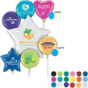"Qualatex (r) - 4 Color - Heart - Small Quantity Microfoil (r) 18"" Round Or Heart Shaped Balloon"