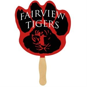 Paw Print - One Sided Imprint Hand Fan With Wooden Handle. Fan Made Of 16 Points Board Stock