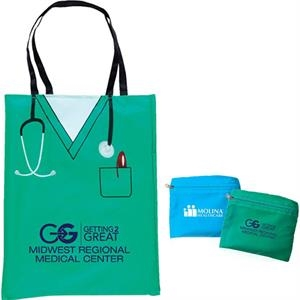 Green - Convertible Scrubs Tote That Folds Into A Zippered Pouch