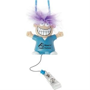 Badge Pull With A Smiley Faced Character With Purple Hair