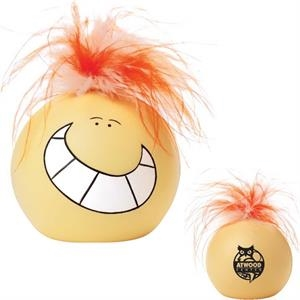 Sir-sqeeze-a-lot - Stress Reliever With Funny Face, Big Smile And Feathered Orange Hair