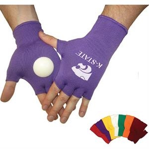 Spirit Clakkers (tm) - Orange - Knit Fingerless Gloves With Hard Plastic Disk On The Palm Of Each