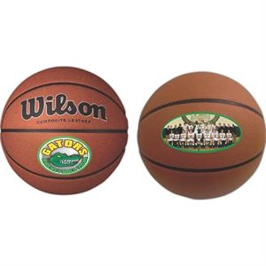 "Full Size Synthetic Leather Basketball; 29.5"" In Circumference With Full Color Process"