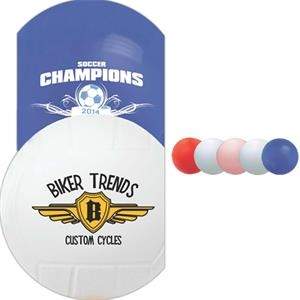 "Mini Soft Vinyl Volleyball, 4 1/4"" With Re-inflatable Athletic Valve"
