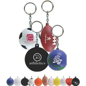 Volleyball - Soft Lightweight Foam Keychain Features A Silver Split Ring; Many Styles Available