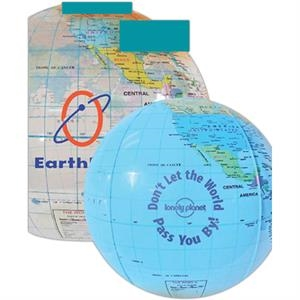 "12"" - Globe Beach Ball Made Of Durable Vinyl And Features An Air Catch Valve"