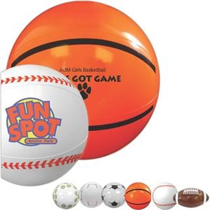 "Baseball - Sport Beach Ball, 9"". Made Of Durable Vinyl; Features An Air Catch Valve"