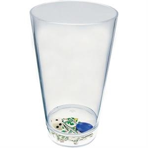 "Casino - Compartment Pint Cup Made Of Clear Styrene With Theme, 3.375"" X 5.875"""