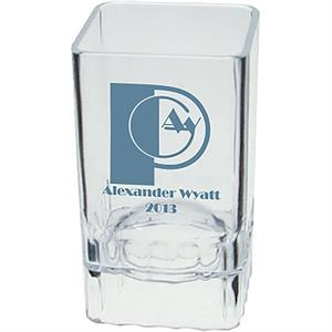 "2 Oz Clear Styrene Square Shot Glass, 1.5"" X 2.625"""