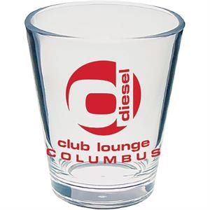 "2 Oz Clear Styrene Tapered Shot Glass, 2"" X 2.25"""
