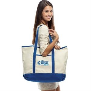 "Venice (tm) - Embroidery - Cotton Canvas Beach Bag, 22"" Wide X 16"" High X 6"" Deep"