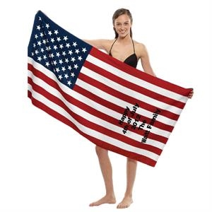 "Printed - Us Flag Stock Print Fiber Reactive Cotton Beach Towel, 30"" X 60"""
