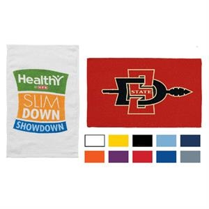 "Printed-white - Promo Weight, Hemmed Terry Event Towel, 11"" X 18"""
