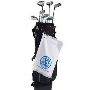 "Printed - Mid Weight White Fringed Velour Golf And Spirit Towel, 11"" X 18"""