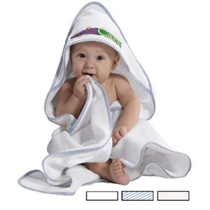"Printed - Hooded Baby Towel, White With Contrasting Trim, 34"" X 34"""