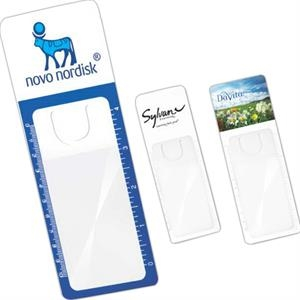 One Color Imprint - Page Marker Magnifier With Side Ruler Markings In Inches And Centimeters