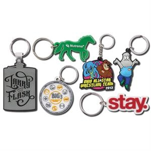 "1 3/4"" - Fun And Flexible Single Sided Custom Design Pvc Key Ring"