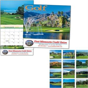 Thirteen Month Appointment Calendar With A Close-up View Of Golf Courses