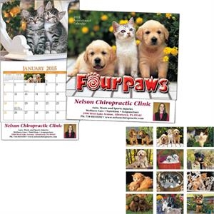 Miniatureline (tm) Four Paws - Thirteen Month Miniature Calendar With Images Of Puppies And Kittens
