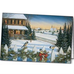Yuletide Chickadees - Holiday Greeting Card