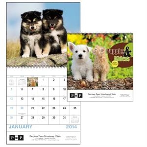 Spiral, 13-month 2015calendar With Adorable Images Of Puppies And Kittens