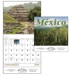 Stapled 13-month Scenic 2015 Calendar With Spanish/english Grid