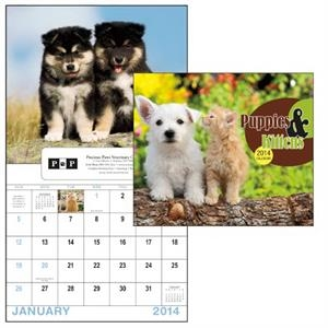 13-month Window 2015 Calendar With Adorable Images Of Puppies And Kittens