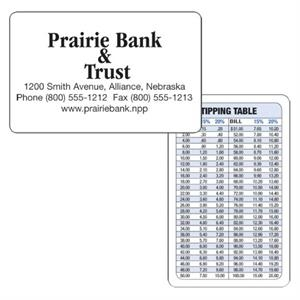Tipping Table Wallet Card. The Back Of The Card Is A Handy Tipping Table