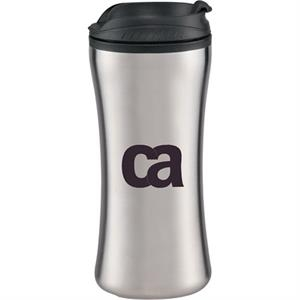 Hourglass - Stainless Steel Tumbler, 14 Oz, With A Plastic Liner And Plastic Flip-top Lid