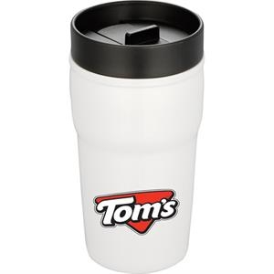 Double-wall Ceramic Tumbler With Hard Lid, 10 Oz