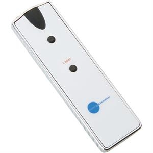 White Abs Plastic Laser Pointer With Led Light, One Button Cell Battery Included