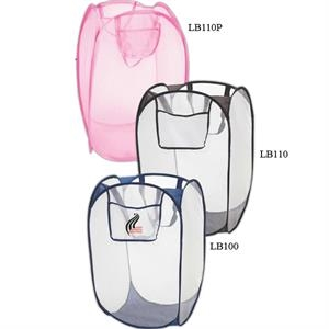 Folding Laundry Bag, Collapsible Pink Mesh