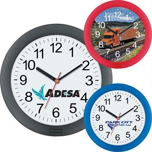 "Wall Clock Has Translucent Colored Frame And Quartz Analog Movement, 10"" Diameter"