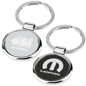 Round-about - Key Tag With Chrome Metal Body Has Center Color Plate And Split Ring