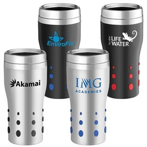 Dot Matrix - 16 Oz. Stainless Tumbler With Rubber Dots For Easy Grip And Double Wall Insulation