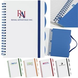 Spiral Bound Notebook, White Cover, 80 Lined Pages And 4 Adjustable Tab Separators