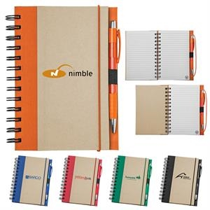 Spiral Bound Notebook With 80 Lined Sheets, Color Accents And 100% Recycled Pages
