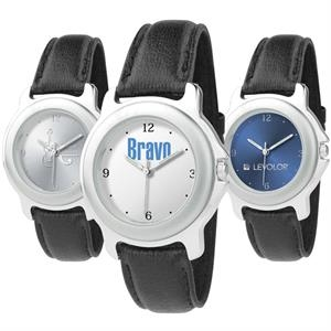 Unisex Style Watch With Silver Double Ring Case, Quartz Movement And Black Band
