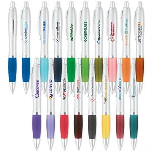 Ballpoint Pen With Curvaceous Design And Rubberized Comfort Grip