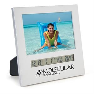 "Silver Matte Finish Photo Frame With Clock, Holds 4"" X"