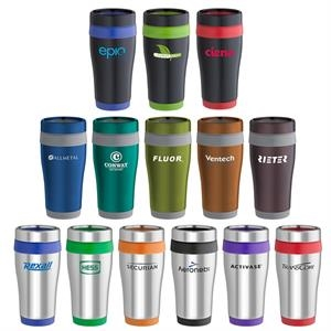 16 Oz. Tumbler With Stainless Steel Outer Wall, Color Liner And Matching Color Grip