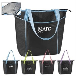 Large Black 100% Striped Non-woven Cooler Tote With Foil Lining For Insulation